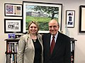Karen Bradley MP meets Senator George Mitchell in New York (40139721854).jpg