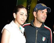 Karisma Kapoor with husband Sanjay Kapur at the Arena Polo Cup match (2008).
