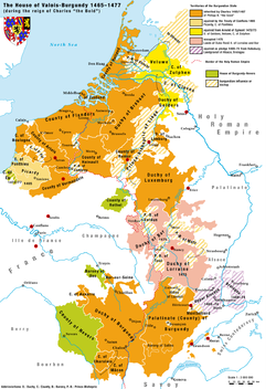 Valois-Burgundy territories ruled by Duke Charles the Bold 1467–1477 (Duchy on the lower left, next to the County of Burgundy)