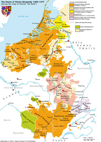 Territories of the house of Valois-Burgundy during the reign of Charles the Bold