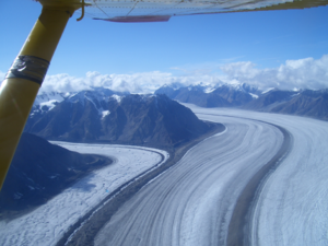 Kaskawulsh Glacier - Kaskawulsh Glacier junction from the air, August 2004