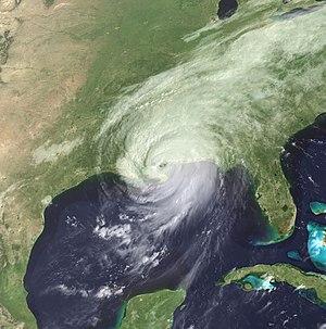 Timeline of Hurricane Katrina - Hurricane Katrina making its third landfall, near the Mississippi/Louisiana border.