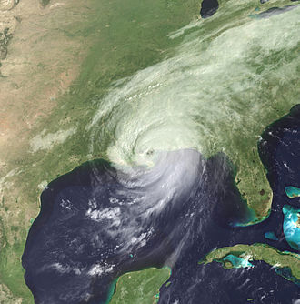Timeline of Hurricane Katrina - Hurricane Katrina making its third landfall, near the Mississippi/Louisiana border.