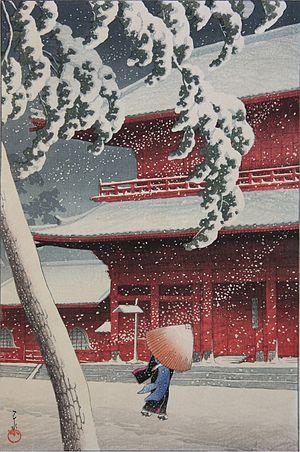 Shin-hanga - Zōjōji in Shiba, by Kawase Hasui (1925)