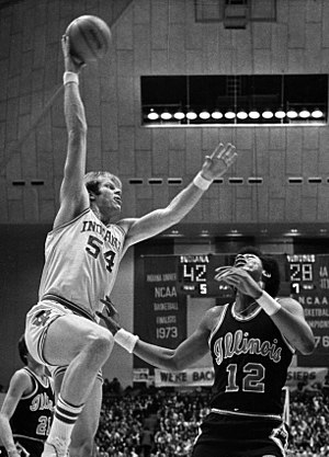 Indiana Hoosiers men's basketball - Kent Benson of the 1976 NCAA Championship team scoring in a Big Ten game against Illinois in 1977