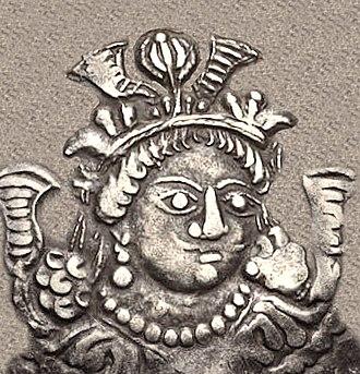 Xionites - Portrait of Kidarites king Kidara, circa 350-386 AD.