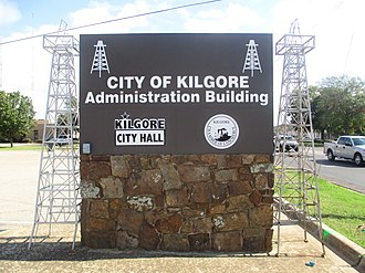 Kilgore, Texas - Kilgore City Hall sign evokes the importance of oil to the city's history.