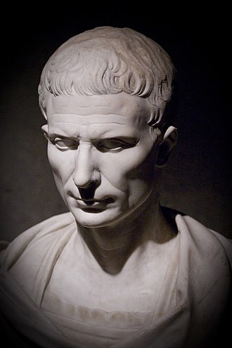 Gallo-Roman Museum, Tongeren - 1st century BC marble bust of Julius Caesar on display at the museum