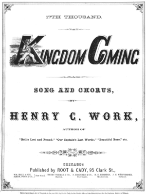 "Kingdom Coming - The cover of the 1862 sheet music for ""Kingdom Coming"""
