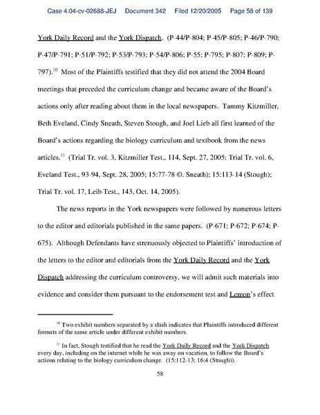 kitzmiller v dover area school district essay Le jugement tammy kitzmiller, et als v dover area school district, et als (no 04cv2688), est le premier dans une cour fédérale des états-unis à condamner une école publique de district qui tentait d'obliger l'enseignement en classe de sciences de la pseudo-théorie du dessein intelligent comme.