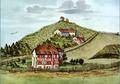 Kloster Selnau - Selnaustrasse, im Vordergrund das 1767 abgebrannte und dann abgebrochene letzte Gebäude des Klosters Selnau. Aquarell um 1650. Zentralbibliothek Sammlung Steinfels.PNG