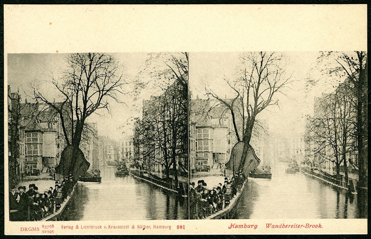 Knackstedt & Näther Stereoskopie 0801 Deutschland, Hamburg, Wandbereiter-Brook, Bildseite der Postkarte um 1900, DRGMs 83768 und 92395.jpg