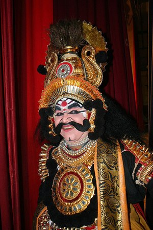 "Indian aesthetics - ""A Yakshagana artist expressing emotions on stage. Vaachikabhinaya is an important part of Yakshagana"""