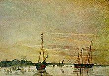Prime navi russe sul lago d'Aral, ritratte da Taras Shevchenko, 1848.