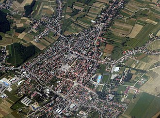 Križevci, Croatia - View of Križevci from air