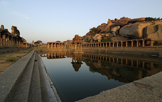 Vijayanagara marketplace at Hampi, along with the sacred tank located on the side of Krishna temple.
