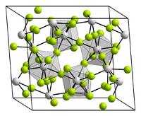 4 unit cells shown of a crystal structure that is skewed (not cubic) and has 8 bonds to a fluiride, for each metal (fluorides are 2 coordinate). Hard to resolve though even if you could see the picture.