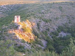 Bukovica, Croatia - Typical Bukovica landscape: Keglević family castle ruins near Mokro Polje in northeastern Bukovica