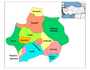 Gediz, Kütahya - Image: Kutahya districts
