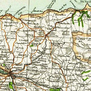 Lynton and Barnstaple Railway - Extract from an early contemporary map showing the route