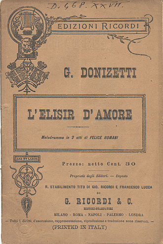 L'elisir d'amore - Title page of the libretto published by Ricordi