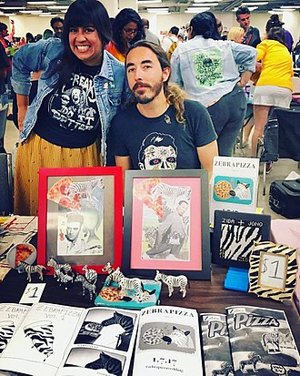 Zine - Zebrapizza tabling at the Los Angeles Zinefest in 2017