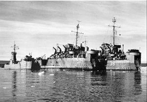 "USS Krishna (ARL-38) - USS Krishna (ARL-38), LSM-297 and LST-521 in Greenland during ""Operation Blue Jay,"" July 1951"