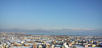 Radolišta - View of the lower part of town. In the background, Lake Ohrid and Galičica mountains with Struga toward the left side and Kališta village toward the right