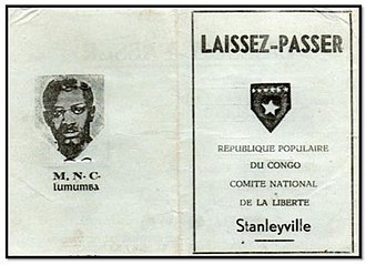 Simba rebellion - Official pass issued by the People's Republic of the Congo, the communist government declared by the Simbas