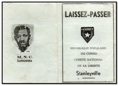 Official pass issued by the People's Republic of the Congo, the communist government declared by the Simbas Laissez-Passer of the People's Republic of the Congo-Stanleyville.jpg