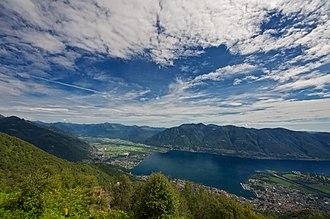 Muralto - View of Lake Maggiore, with (l-r) Vogorno, Mergoscia, Gordola, Minusio, Brione sopra Minusio, Muralto, Locarno
