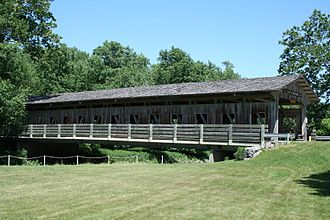 Mahomet, Illinois - Lake of the Woods forest preserve covered bridge.