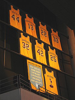 A display of yellow basketball jerseys bearing the names and uniform numbers of players