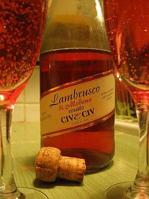 Lambrusco - A bottle of the rosé version (Lambrusco rosato) of the Lambrusco wine.