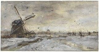 Paysage avec moulin à vent dans la neige