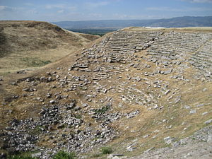 Laodicea on the Lycus - Western Theatre with Hierapolis–Pamukkale in the distance