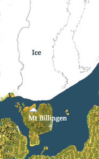 Scandinavia - Late Baltic Ice Lake around 10,300 years B.P., with a channel near Mount Billingen through what is now central Sweden (political boundaries added)