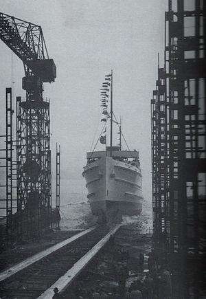 SS Mona's Queen (1934) - Launch of Mona's Queen, 12 April 1934.