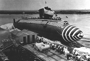 The launch of USS Blueback
