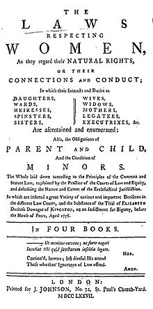 "Title page reads, in part ""The Laws Respecting Women, as they regard their Natural Rights, or their Connections and Conduct; In which their Interests and Duties are Daughters, Wards, Heiresses, Spinsters, Sisters, Wives, Widows, Mothers, Legatees, Executrixes, &x. Are ascertained and enumerated: Also, the Obligations of Parent and Child, And the Condition of Minors...."""