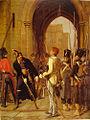 Le général Daumesnil refuse de livrer Vincennes (huile de Gaston Mélingue, 1882).jpg