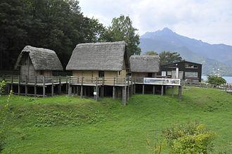 Lago di Ledro - Reproductions of the prehistoric stilt houses on the bank of the Lake Ledro.