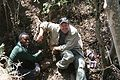 Lee Berger and Job Kibii at the moment of discovery of Malapa hominid 2.JPG