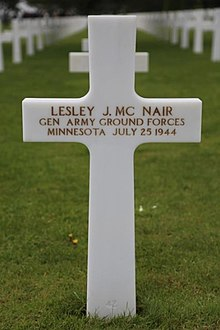 McNair's grave marker showing posthumous promotion