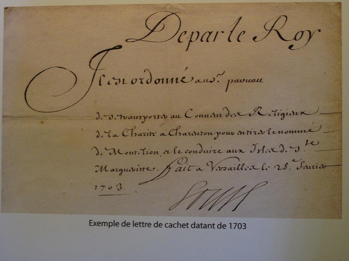 lettre de de Lettre de cachet   Wikipedia lettre de de