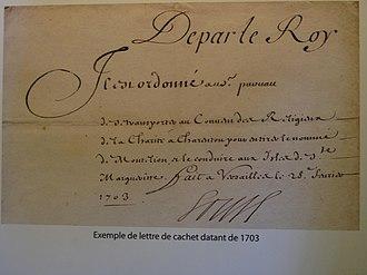 """Lettre de cachet - A lettre de cachet of 1703 (reign of Louis XIV), opening De par le roy (""""In the name of the King..."""")"""
