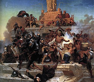 Spanish conquest of the Aztec Empire Leutze, Emanuel -- Storming of the Teocalli by Cortez and His Troops -- 1848.jpg