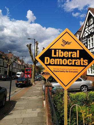 Liberal Democrats campaigning stakeboards in Hornsey and Wood Green in 2015 LibDem posterboards Hornsey Wood Green 7 May 2015.jpg