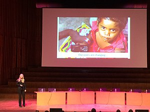 Lila Tretikov - Wikimania 2014 - Our users are changing.jpg
