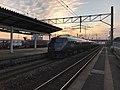 """Limited Express """"Kamome"""" at Nabeshima Station at dusk.jpg"""